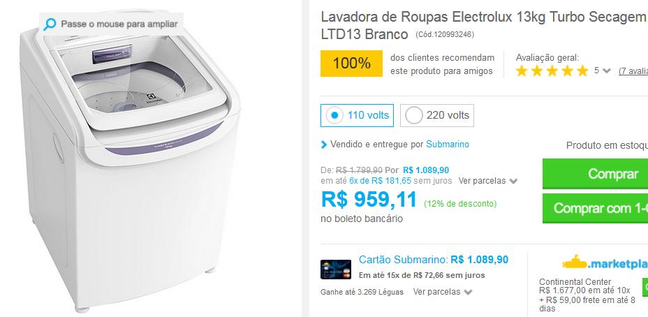 www.submarino.com.br/produto/120993246/lavadora-de-roupas-electrolux-13kg-turbo-secagem-ltd13-branco?opn=COMPARADORESSUB&franq=AFL-03-117316