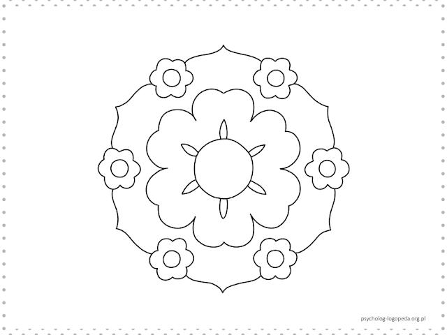 proste mandale kwiaty