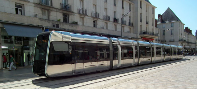 Tram in the city of Tours.  Indre et Loire, France. Photographed by Susan Walter. Tour the Loire Valley with a classic car and a private guide.