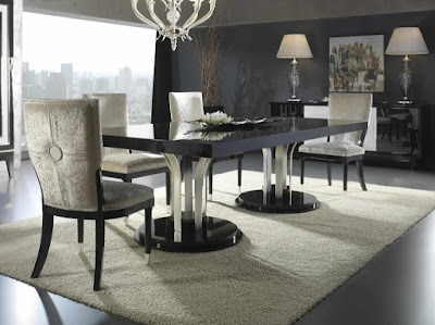 Luxury gray dining room with elegant furniture