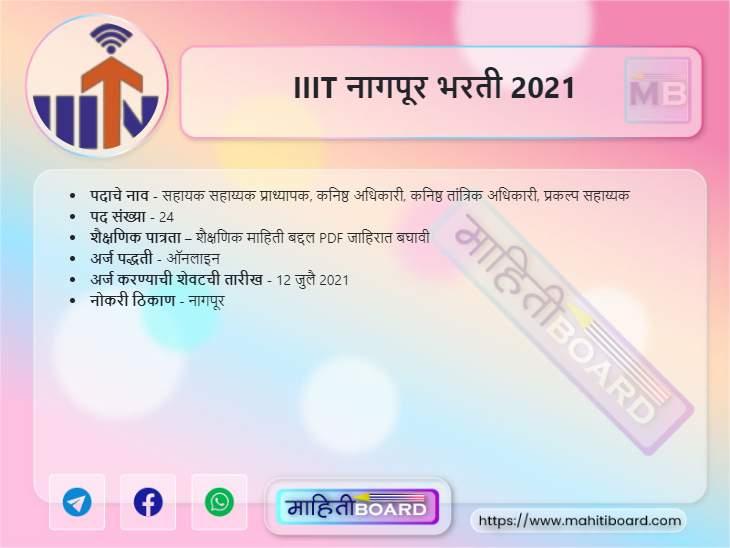IIIT Nagpur Recruitment 2021