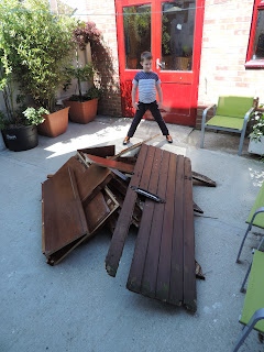 garden gate and dismantled cupboard