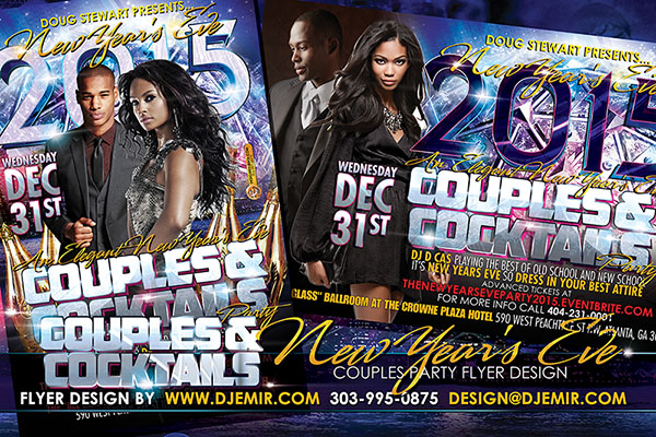 Couples and Cocktails Elegant New Year's Eve Flyer Design  New Year's ball drop champagne suit