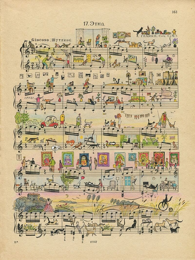 06-Cats-Lyapunov-and-Erlich-Music-Sheets-Colored-Illustrations-www-designstack-co
