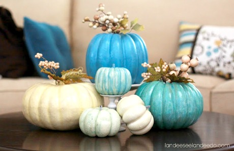Blue Painted Pumpkins