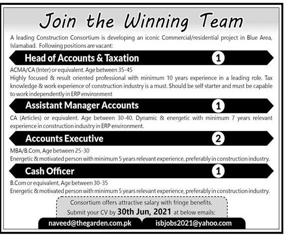 naveed@thegarden.com.pk - Leading Construction Consortium Jobs 2021 in Pakistan