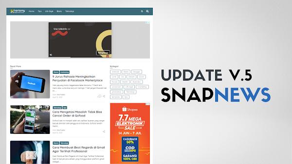Update 5.0 SnapNews Pro Responsive Blogger Templare