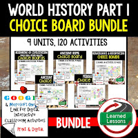 Ancient World History Choice Boards, Digital Interactive Notebook,  Early Man, River Valley Civilizations, Ancient Greece, Ancient Rome, Ancient China, Asian Empires, African Kingdoms, Aztec, Inca, Maya, Middle Ages, Renaissance, Reformation, Explorers