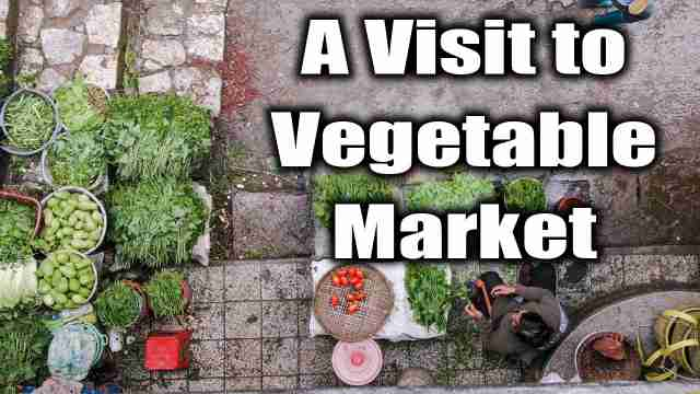 picture of vegetable market used for an essay on A visit to vegetalble market