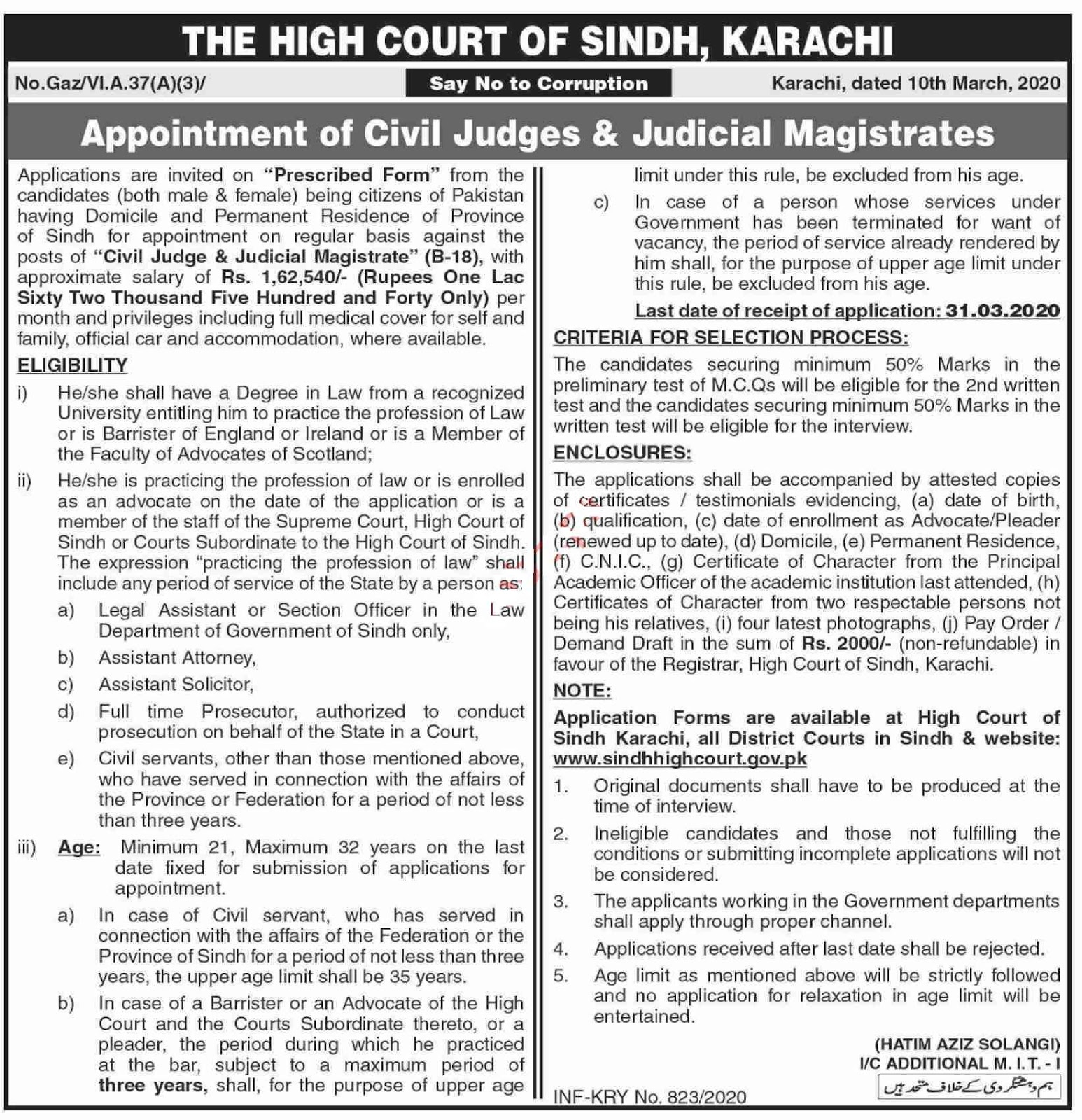 The High Court of Sindh Jobs 2020 for Civil Judges