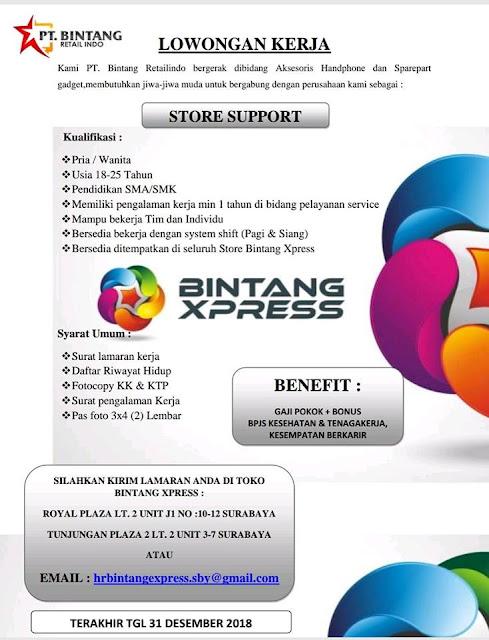 lowongan kerja store support PT Bintang Retailindo