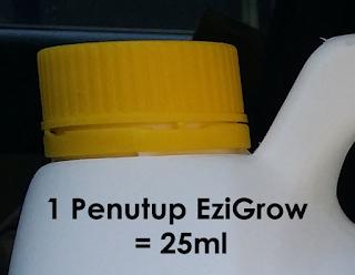 Saya dah sukat untuk kemudahan pengguna baja foliar ezigrow