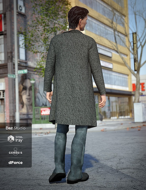 dForce Long Coat Outfit for Genesis 8 Male