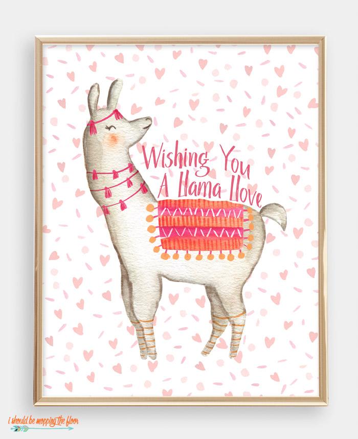 Llama Valentine Printable