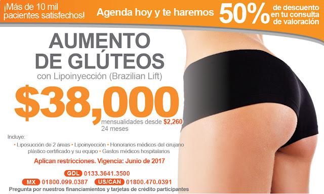 precio de aumento de gluteos con lipoinyeccion brazilian lift levantamiento pompis en guadalajara