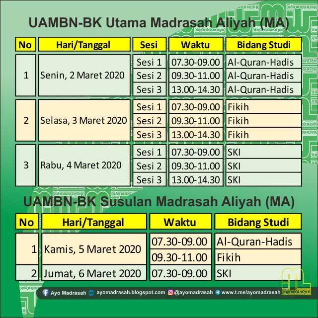 Jadwal UAMBN-BK MA 2020