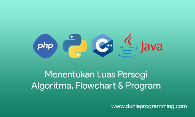 Agoritma, Flowchart dan Program Menentukan Luas Persegi