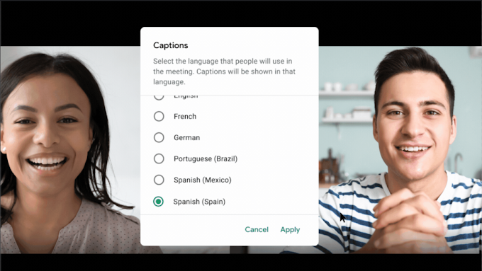 Additional language support for live captions in Google Meet