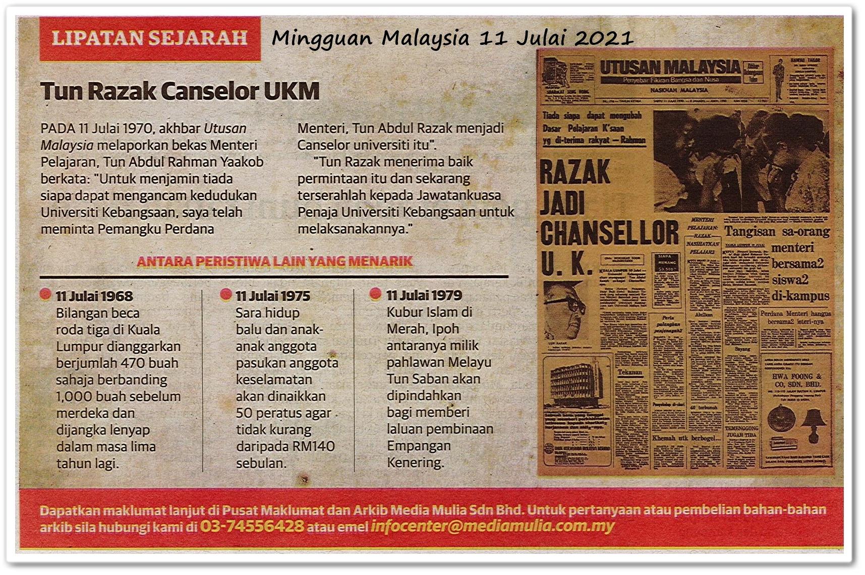 Lipatan sejarah 11 Julai - Keratan akhbar Mingguan Malaysia 11 Julai 2021