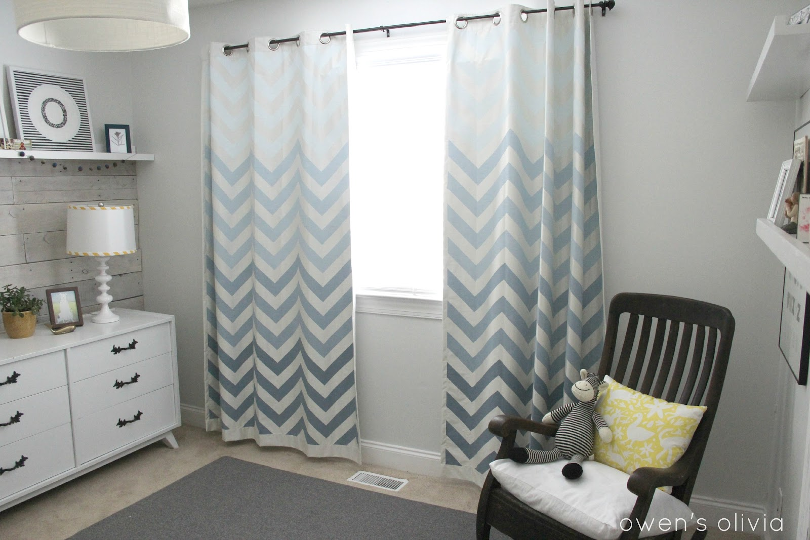 Yellow and gray nursery curtains - Cheap Ombre Chevron Curtains In Boys Nursery With Nursery Curtains