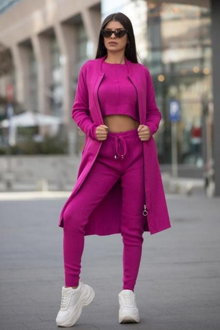 Compleu dama la moda tricotat fuchsia alcatuit din 3 piese