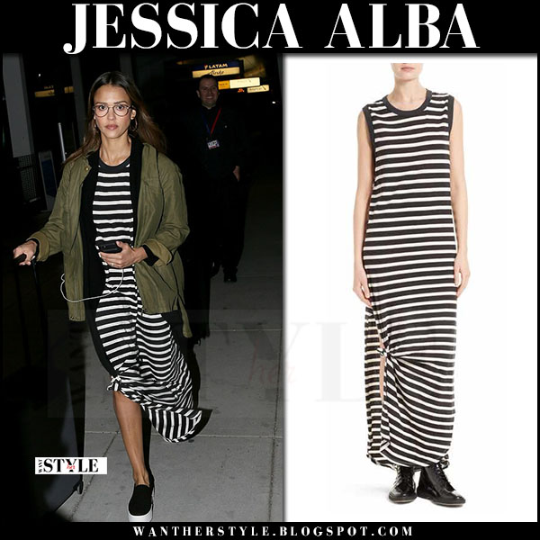 Jessica Alba in black and white striped dress the great and black sneakers what she wore april 2017