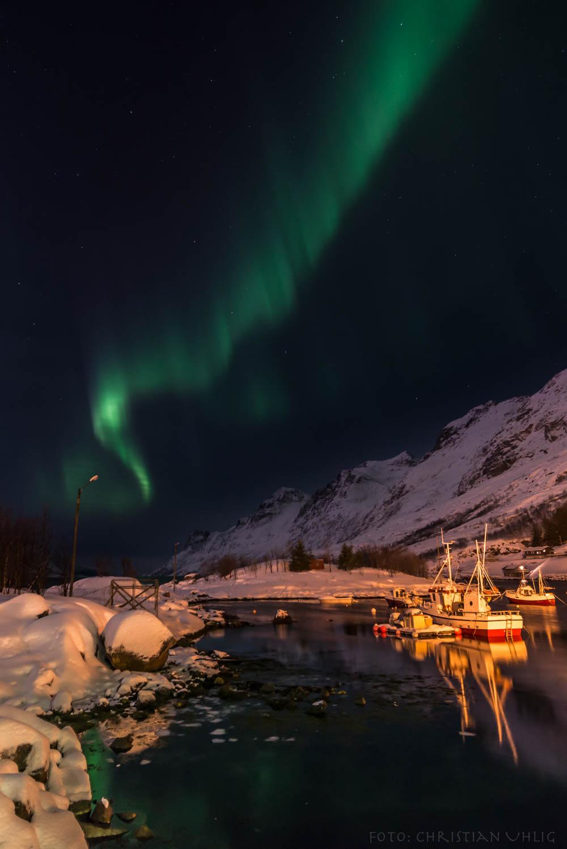 Zorza polarna sfotografowana w noc z 16 na 17.02.2016 r. (Credit: Christian Uhlig, Ersfjordbotn, Troms, północ Norwegii)