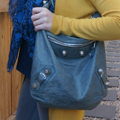 mustard cardigan with Balenciaga giant hardware Day hobo bag in 2009 tempete | away from the blue