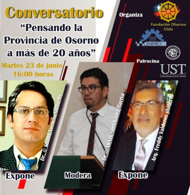 """Invitan a Conversatorio on-line """"Pensando la Provincia de Osorno a más de 20 años"""""""