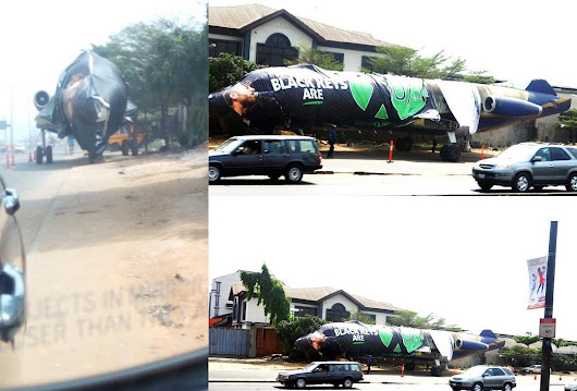 Aircraft seen parked on the service lane along Oshodi-Anthony expressway, Lagos (PHOTOS)