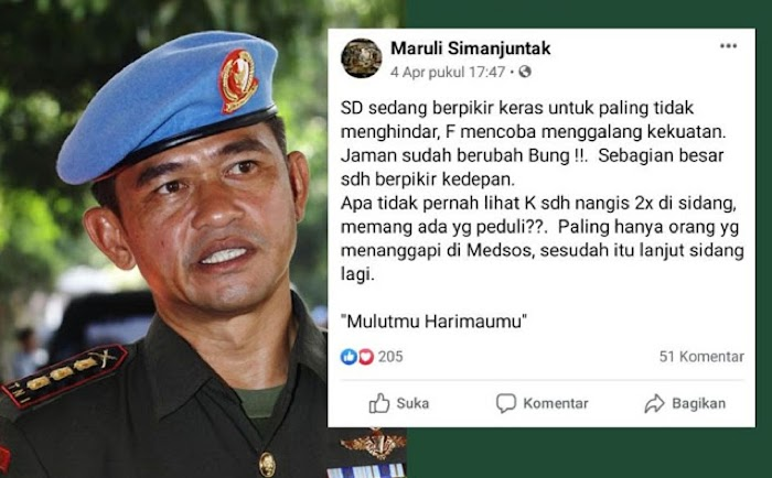 Menantu Luhut Danpaspampres Mayjen Maruli Simanjuntak Sindir Inisial SD-F-K di Status FB, SIAPA YANG DIMAKSUD?