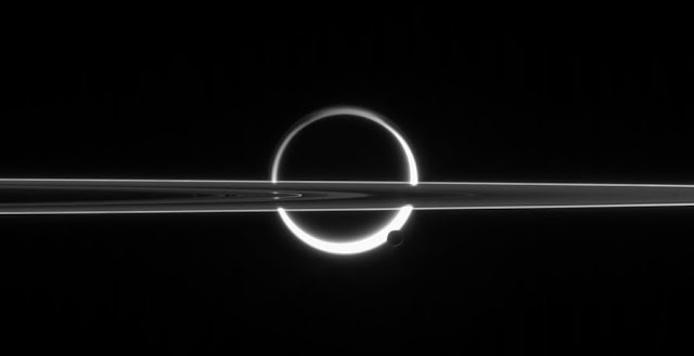 The image was taken on 10 June 2006 in red light with the Cassini spacecraft's narrow-angle camera, and is orientated with north facing up. The spacecraft was some 3.9 million km from Enceladus and 5.3 million km from Titan. Credit: NASA/JPL/Space Science Institute