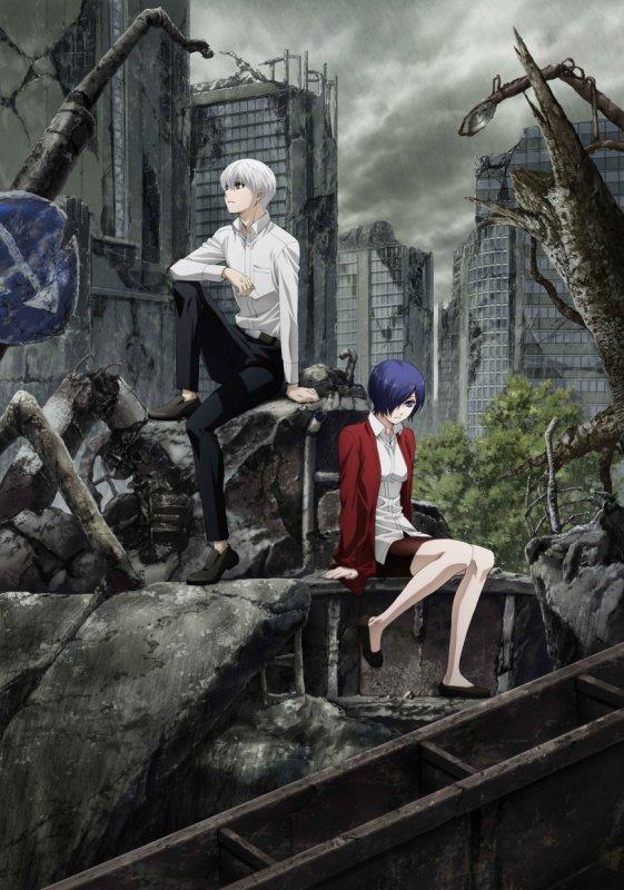 Tokyo Ghoul:re - plakat drugiego sezonu z siedzącymi bohaterami