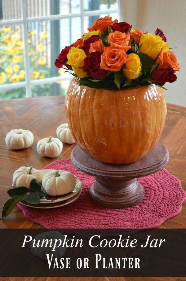 Pumpkin Cookie Jar Vase Or Planter text over photo of pumpkin vase