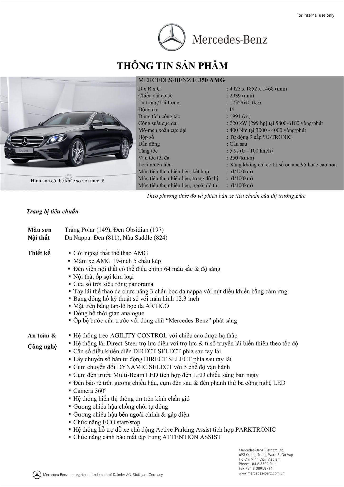 Bảng thông số kỹ thuật Mercedes E350 AMG 2019 tại thị trường Việt Nam