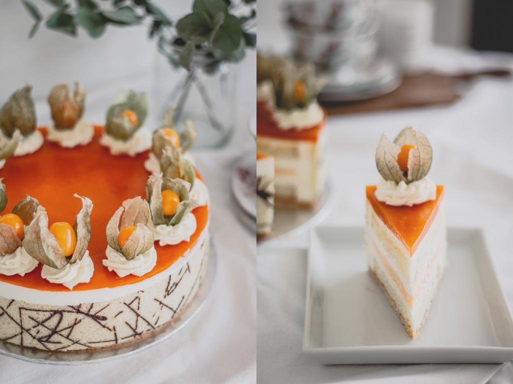 Die Torte links sowie ein Anschnittstück rechts
