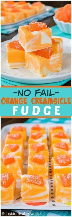 Swirls of orange and white make this easy Orange Creamsicle Fudge a hit at any dinner or picnic. The bright color and fresh taste make it a fun no bake treat.