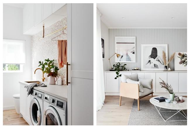 Decoración de estilo nórdico con colores suaves by Habitan2 | Precioso lavabo rosa