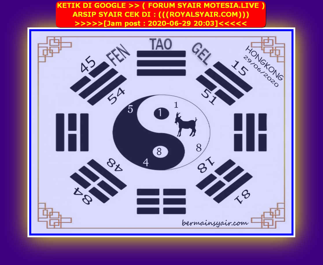 Kode syair Hongkong Senin 29 Juni 2020 135