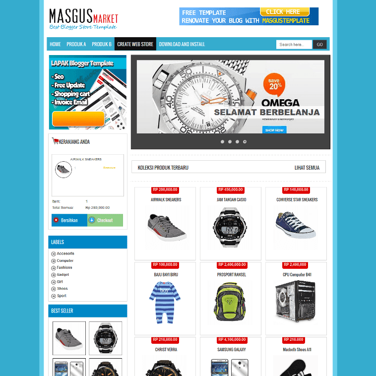 shopping cart template for blogger - masgus market shopping cart free blogger template