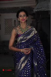 Model Shilpa Reddy Stills in Purple Silk Saree at Gudi Sambaralu 2017 Sri Ramachandra Swami Temple  0031.JPG