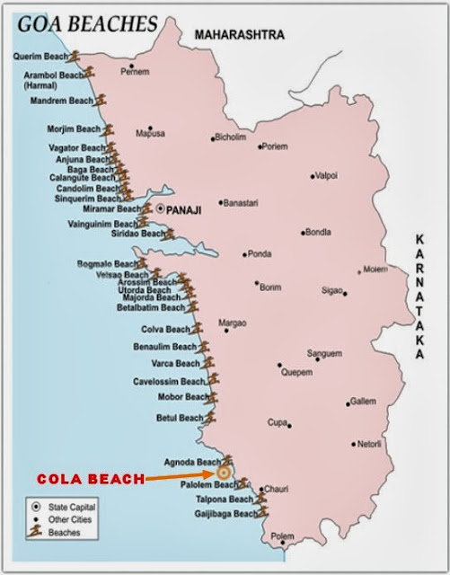 Cola Beach Goa India Location Map,Location Map of Cola Beach Goa India,Cola Beach Goa accommodation destinations attractions hotels resorts villas map reviews photos pictures,cola beach blue lagoon exclusive tents huts resorts