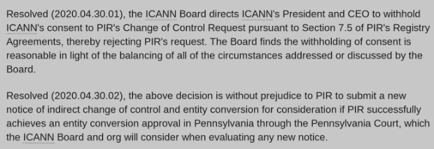 ICANN Reject's PIR's Change of Control Request