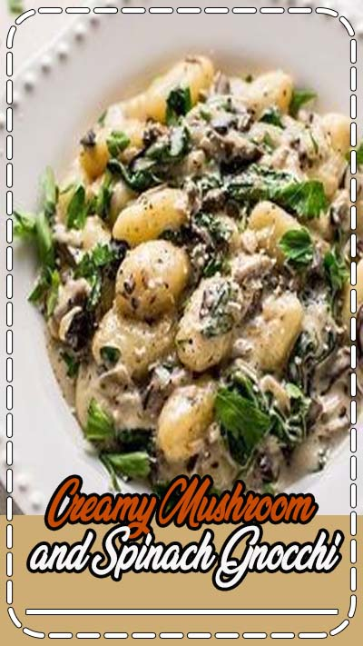 This creamy mushroom and spinach gnocchi is a restaurant-worthy dinner made in one pan and ready in less than 30 minutes! White wine and parmesan cheese make this sauce amazing!