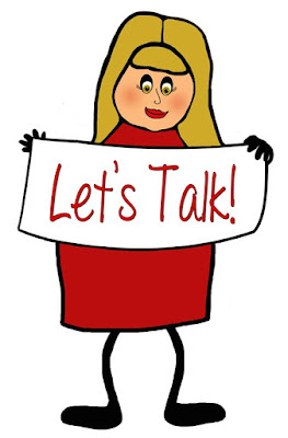 Stick girl wearing a red dress with blonde hair holding a sign that says Let's Talk.