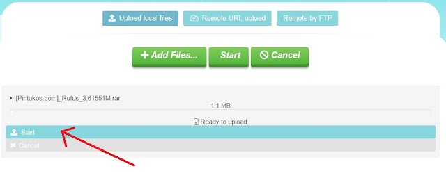 klik start untuk upload file di uptobox