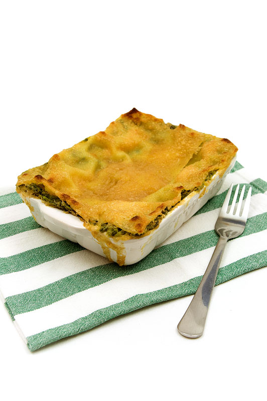 Spinach lasagne with salmon finnished