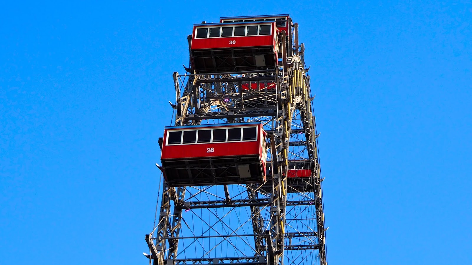 Closeup of Riesenrad ferris wheel carriages