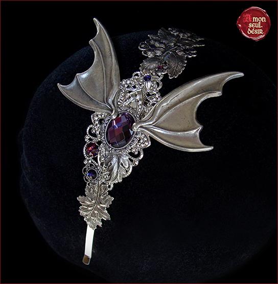 Halloween Vampire Bijoux Cheveux Chauve Souris Serre Tete Ailes Dracula Vampirella Headband Bat Wings Gothic Goth Headdress