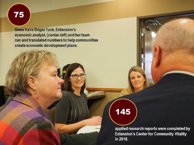 University of Minnesota Extension's economic analyst, Brigid Tuck sitting in a group. Text on photo 75 times have bridged Tuck and her team run and translated numbers to help communities create economic development plans. 145 applied research reports were completed by extension's center for community vitality in 2018.